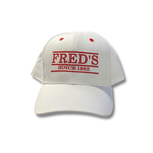 The Game* Fred's White Hat w/red stiching