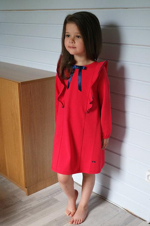 Платье Красное трикотажное, прямое