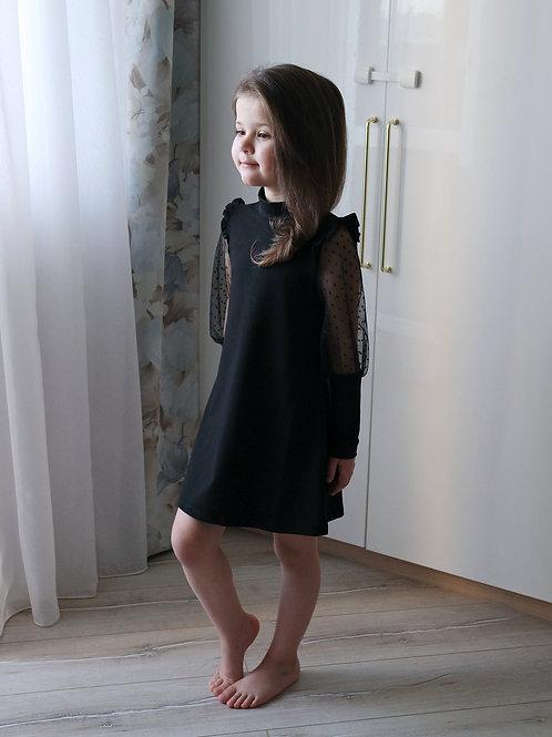 Платье Чёрное, с вставками из фатина