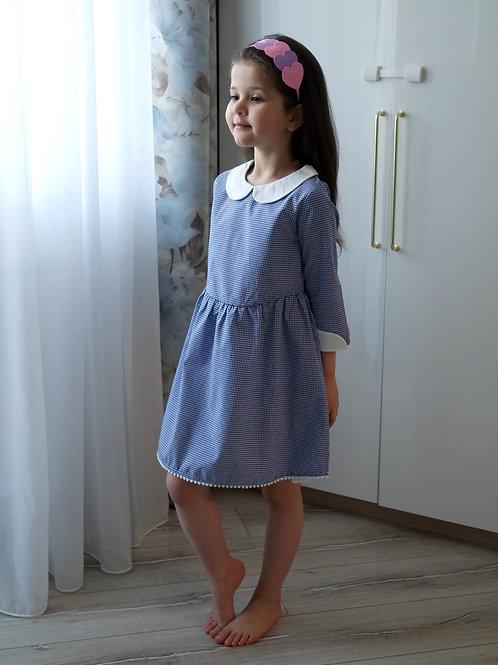 Платье Синее в клеточку, с белым воротником
