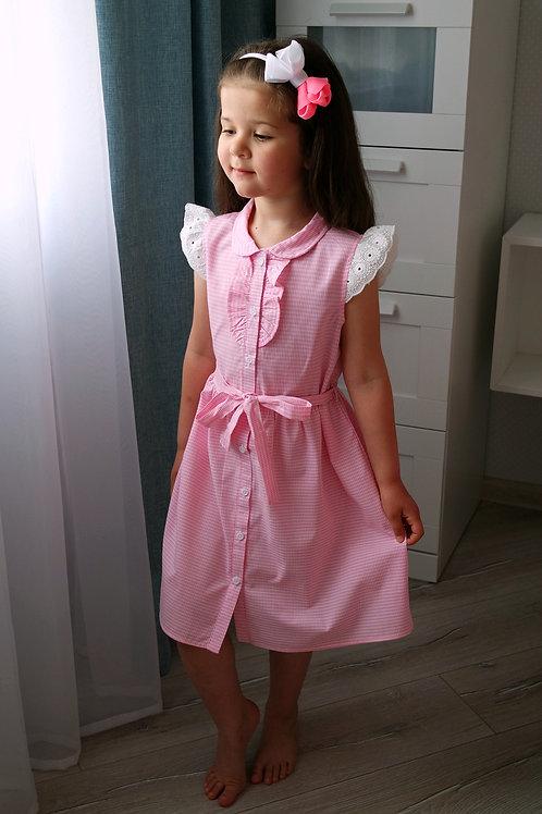 Платье с кружевом розовое в клетку