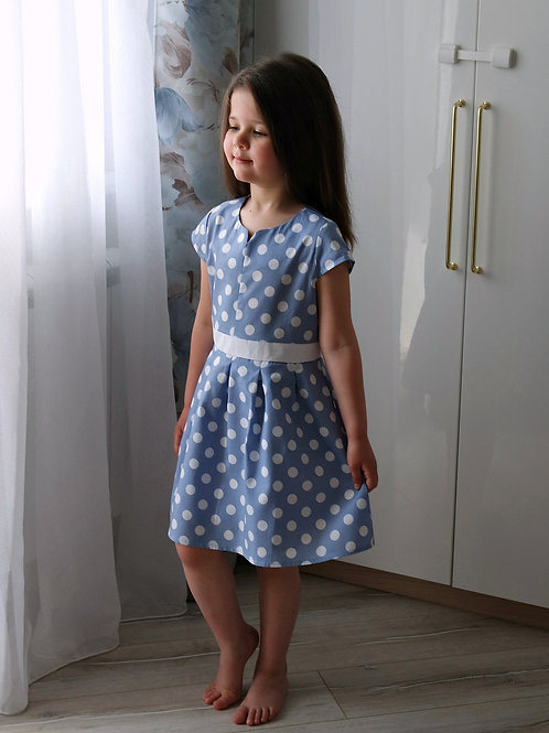 Платье Голубое, в горошек