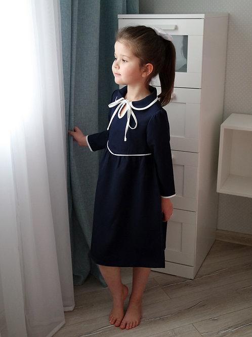 Платье Тёмно-синее, с белой окантовкой