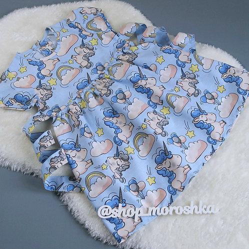 Платье Единороги на голубом