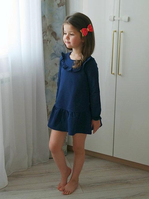 Платье Синее, с красным бантом