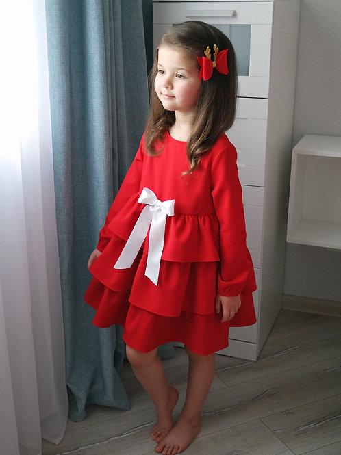Платье Красное, с белым бантом