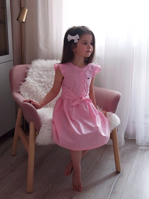 Платье Розовое в клеточку, накладной пояс