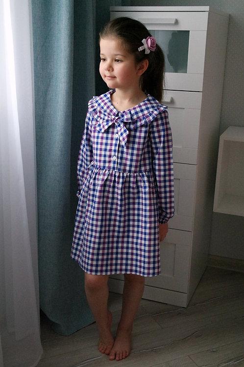 Платье в синюю и сиреневую клеточку