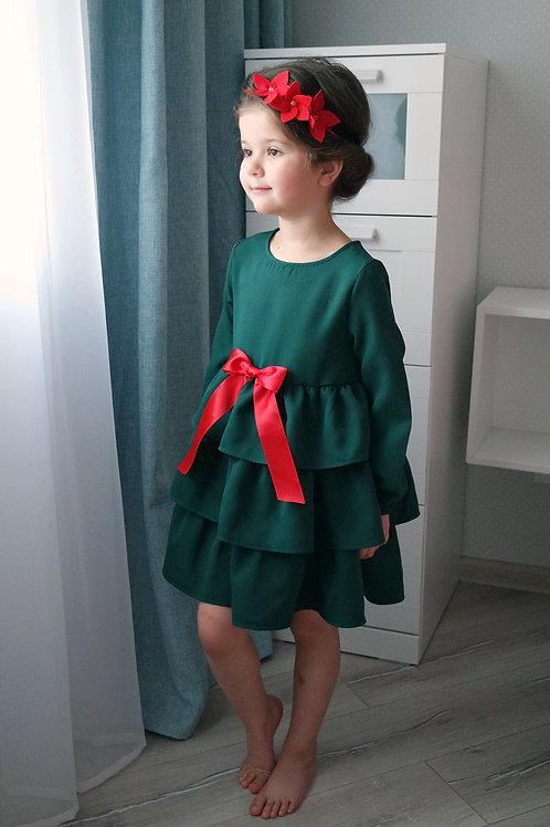 Платье Зелёное, с красным бантом