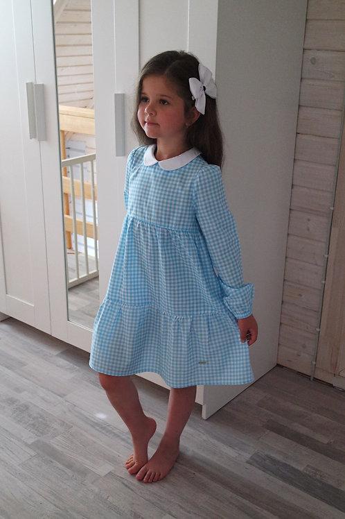 Платье Голубое в клеточку
