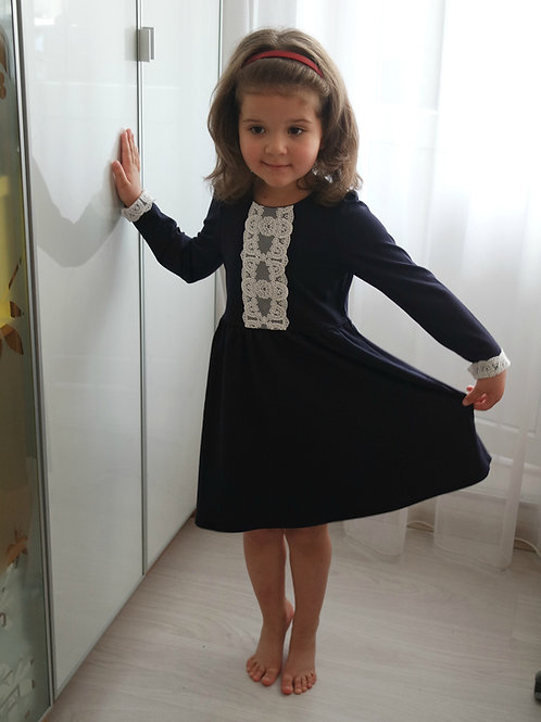 Платье Темно-синее, с кружевом