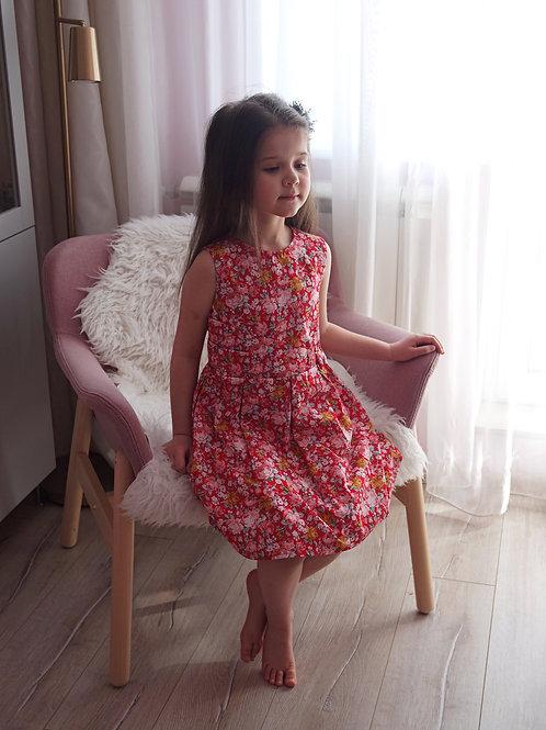 Платье Красное с цветами, без рукавов