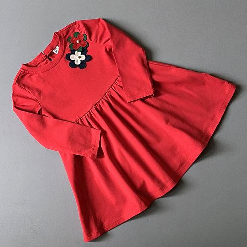 Платье Красное трикотажное с цветами
