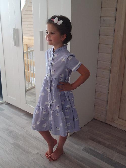 Платье с коротким рукавом Лебеди