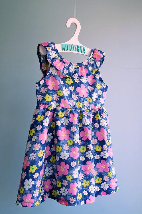 Платье синее с бантом на спинке