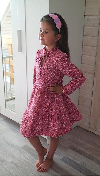 Платье розовое в цветочек
