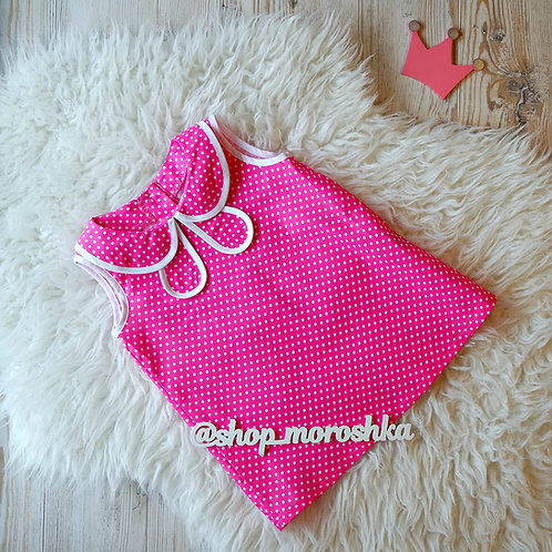 Платье Розовое в горошек
