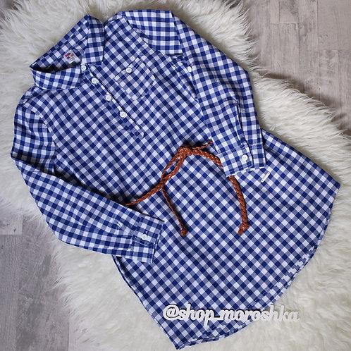 Платье-рубашка Синее, в клетку