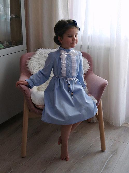Платье Голубое, с белыми рюшами и бантом