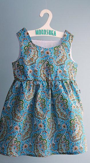 Платье Голубое с узорами