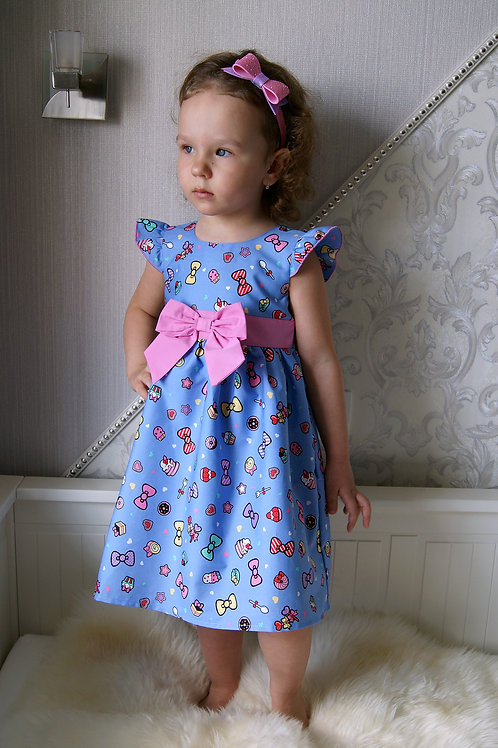 Платье Бантики на голубом, с подкладкой