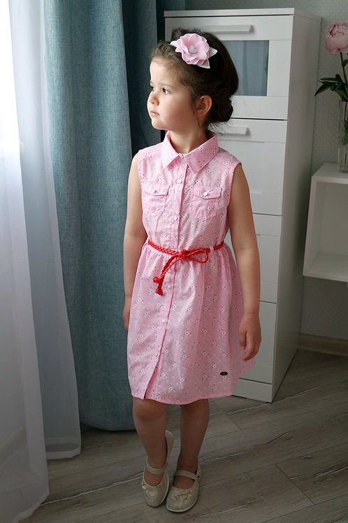 Платье Розовое с пояском