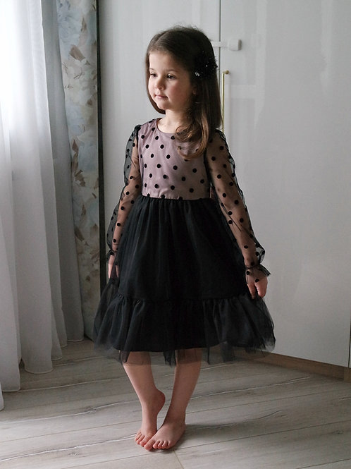 Платье нарядное Чёрное, с фатином