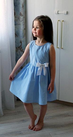 Платье Голубое, с бантом