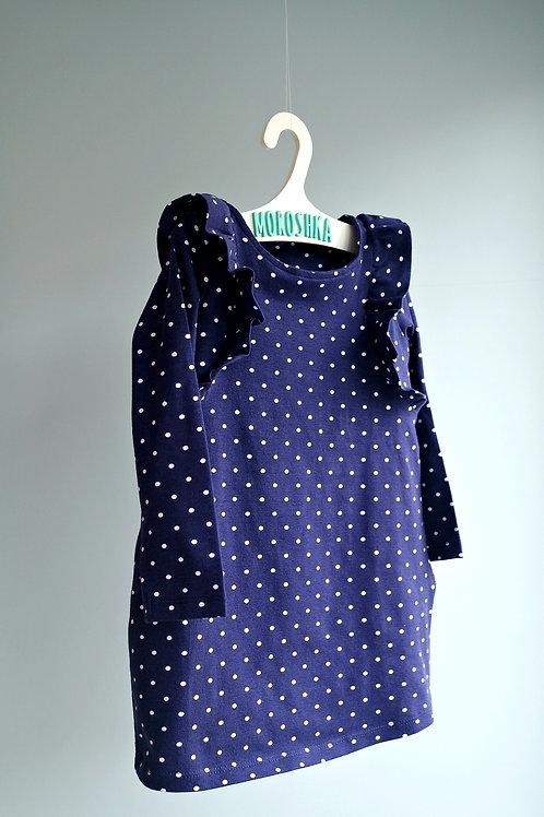 Платье Синее в горошек, с длинным рукавом