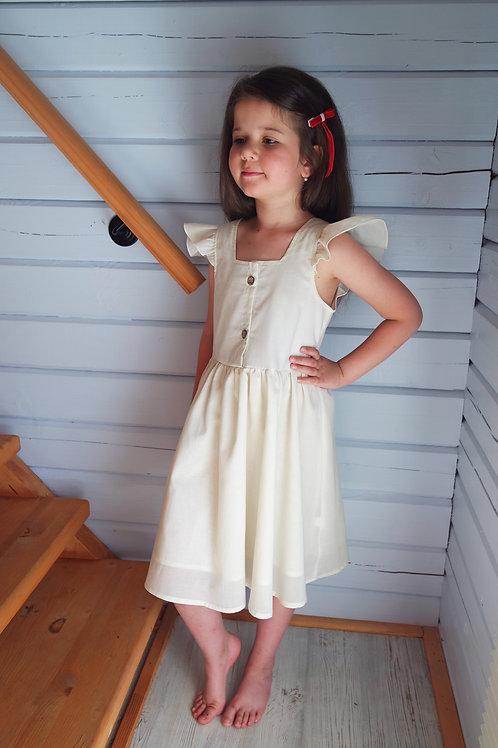 Платье Молочное, рукава-крылышки
