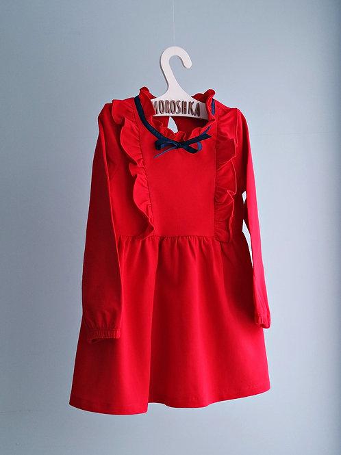 Платье трикотажное Красное, приталенное