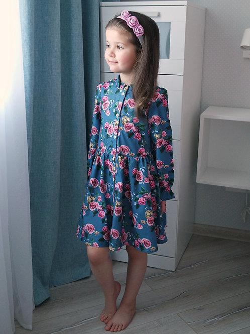 Платье-рубашка Синее, с розами