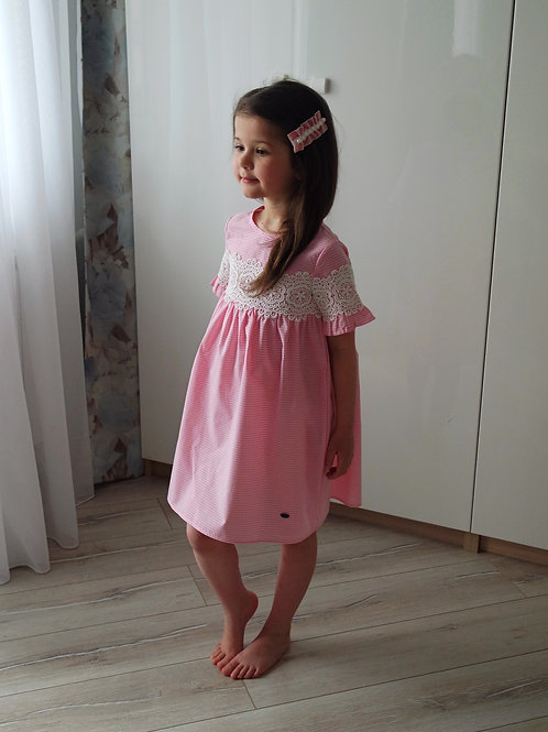 Платье Розовое в клеточку, с кружевом