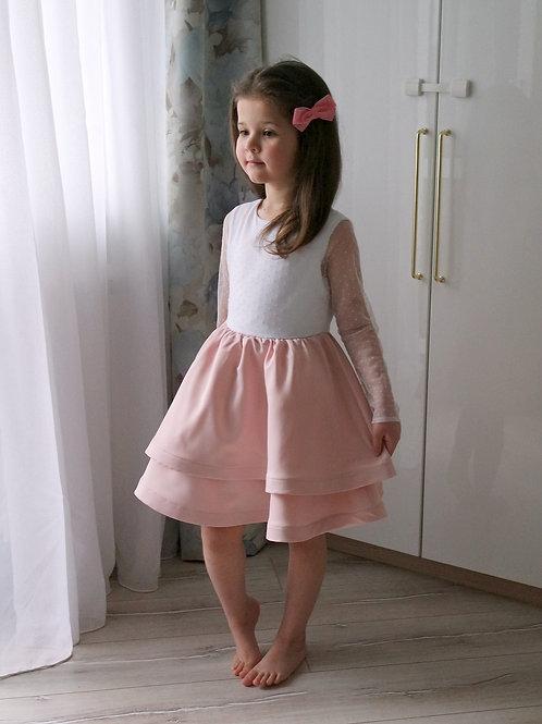 Платье нарядное Бело-розовый зефир