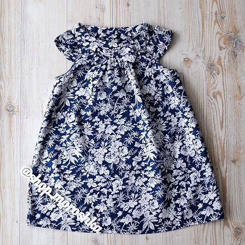 Платье Синее, в цветочек