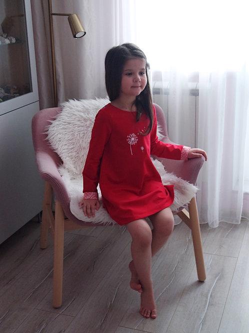 Платье Красное с одуванчиком