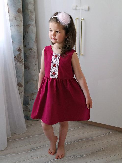 Платье Бордовое, с шитьём