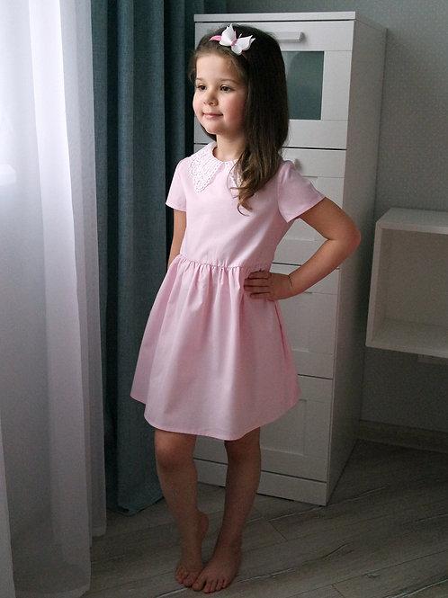 Платье Розовое, с кружевом