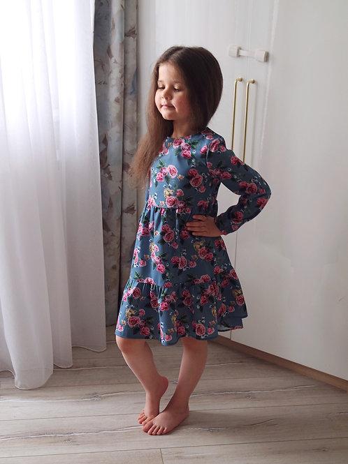 Платье Синее, с розами
