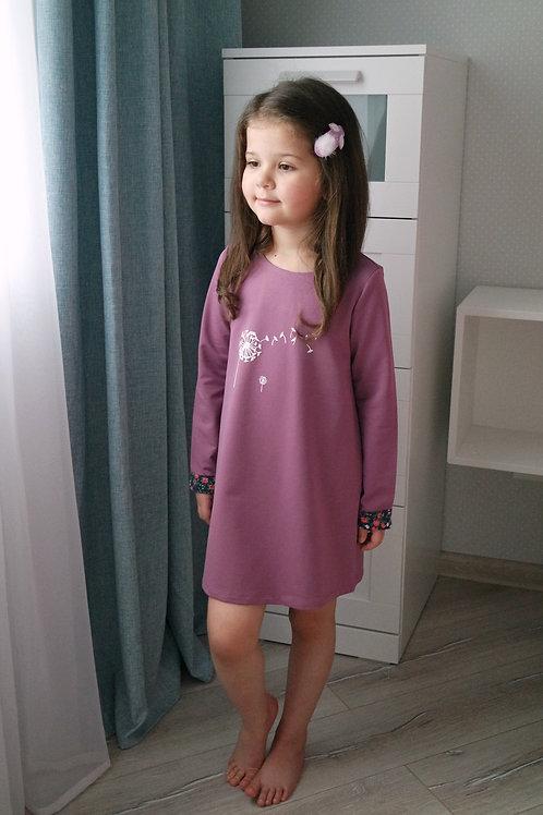 Платье Лиловое с одуванчиком