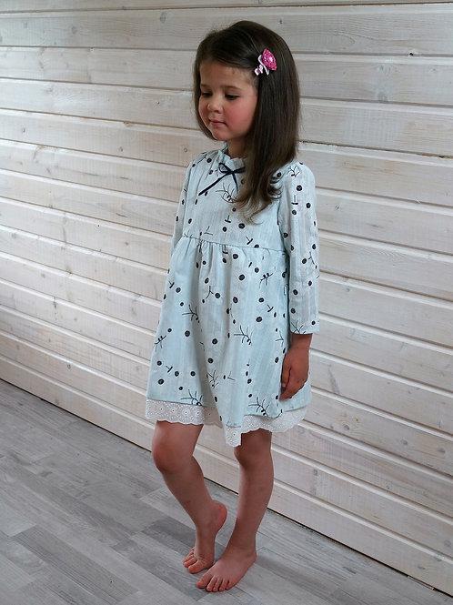 Платье Нежно-голубое, с цветами
