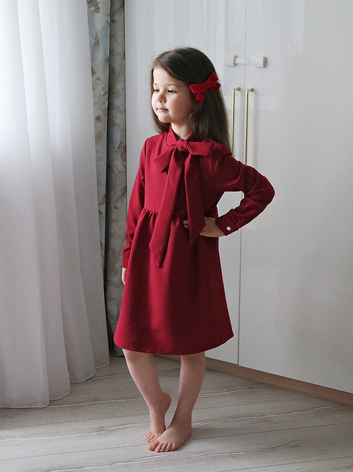 Платье Бордовое, с бантом