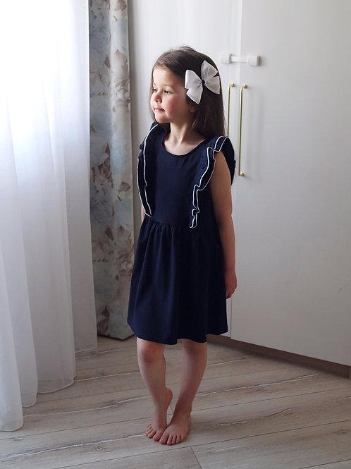 Платье Тёмно-синее, с рюшами и белым кантом