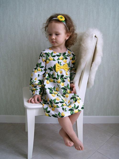 Платье Лимоны с бантиком, длинный рукав