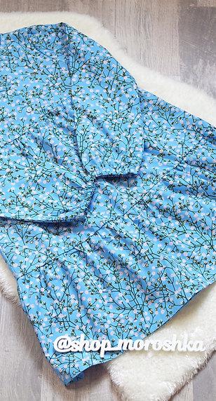Платье голубое в цветочек