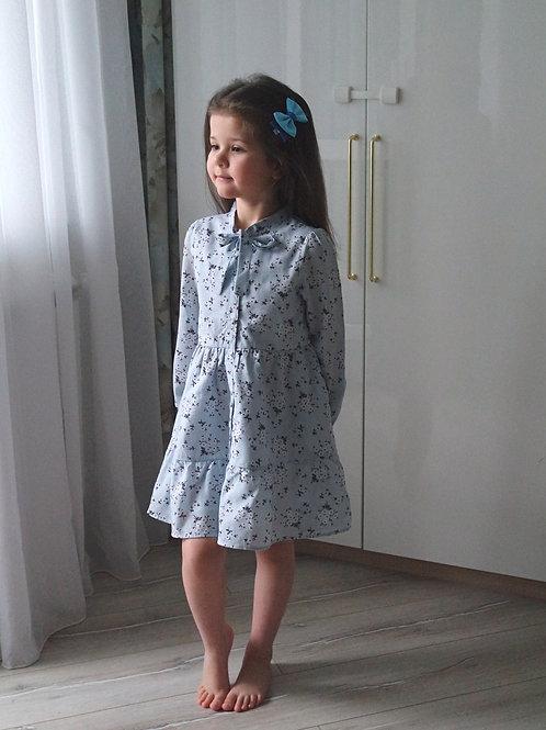Платье Серо-голубое, с подкладкой