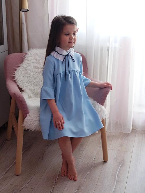 Платье Голубое, с белым воротником