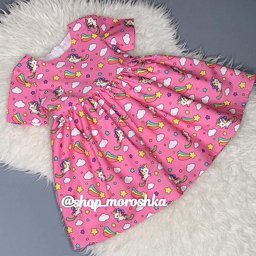 Платье нарядное Единорожки на розовом