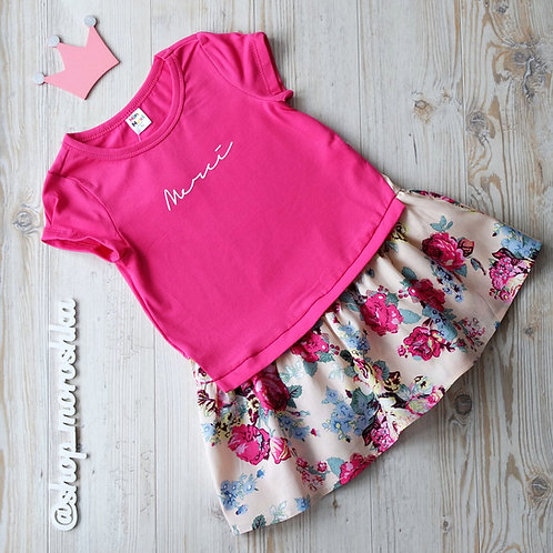 Платье малиновое, комбинированное
