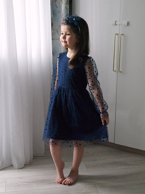 Платье нарядное Синее, с фатином в горошек